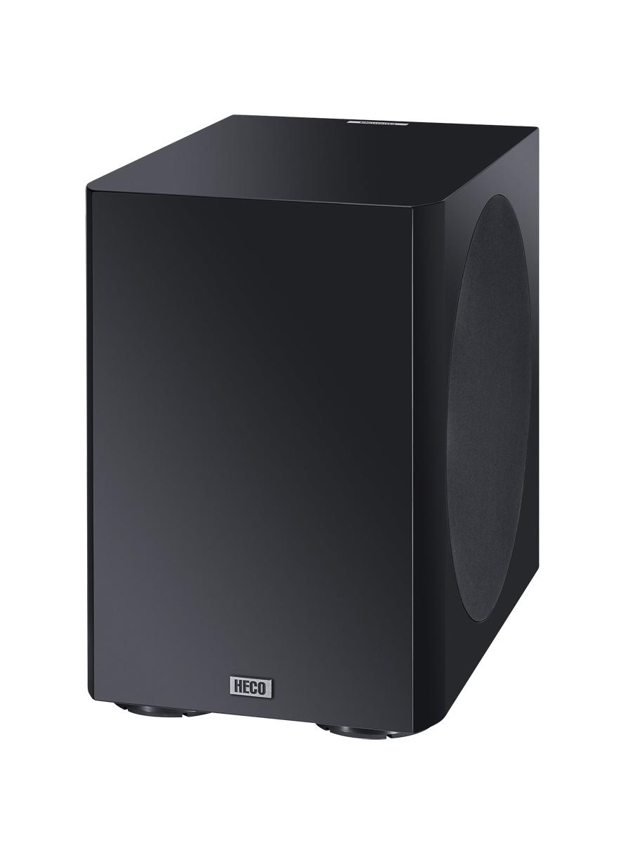 Heco Elementa Sub 3830A, aktiver Kompakt-Subwoofer mit 38 cm Bassradiator, schwarz/seidenmatt, Neu