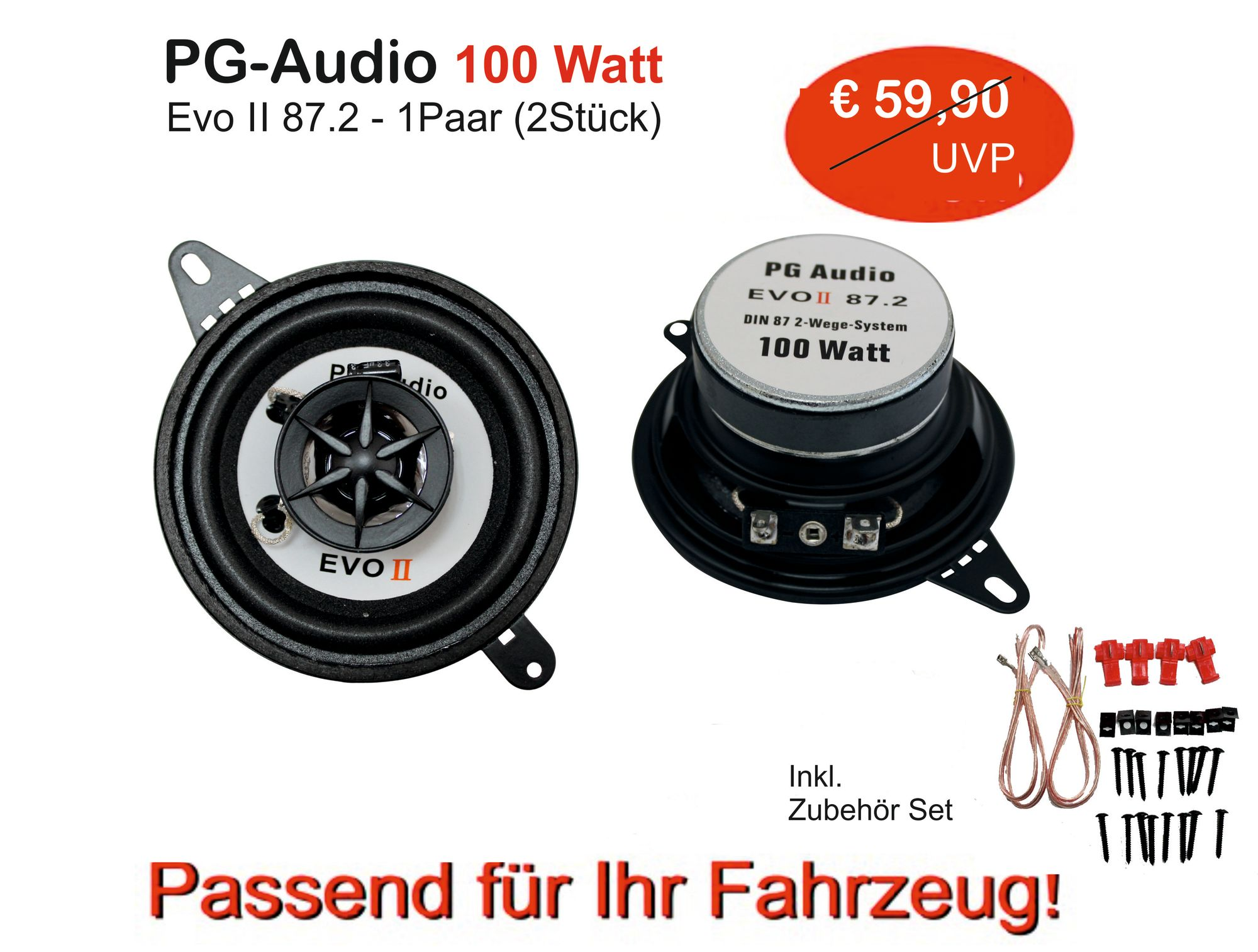 PG Audio 87 mm,8,7 cm Front Lautsprecher Armaturenbrett VW Polo I ,Jetta I,Golf II,