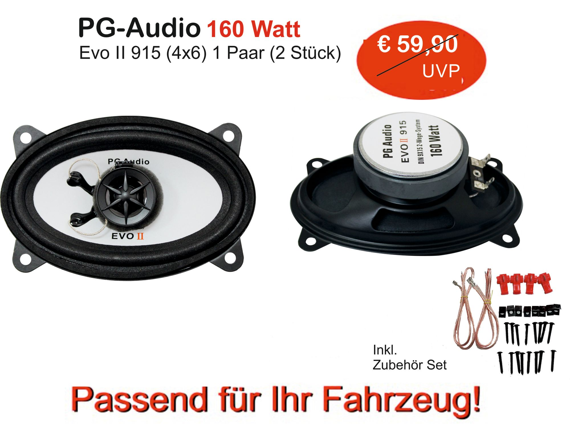 Lautsprecher 915 (4x6 Zoll),2-Wege für Fiat Croma,Ducato,Doblo,Tipo,Punto