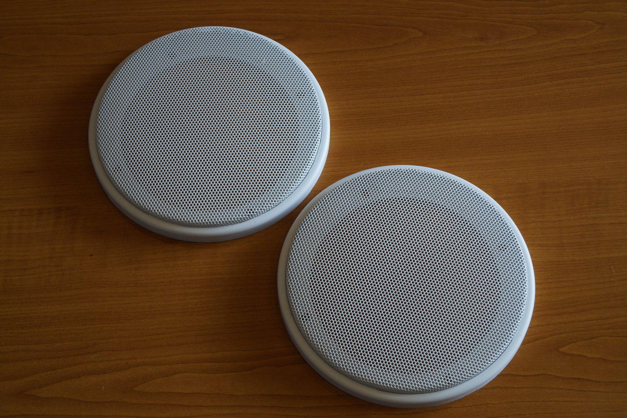 1 Paar DIN-160 Lautsprecher-Universalabdeckung Abdeckung Gitter weiß  – Bild 1