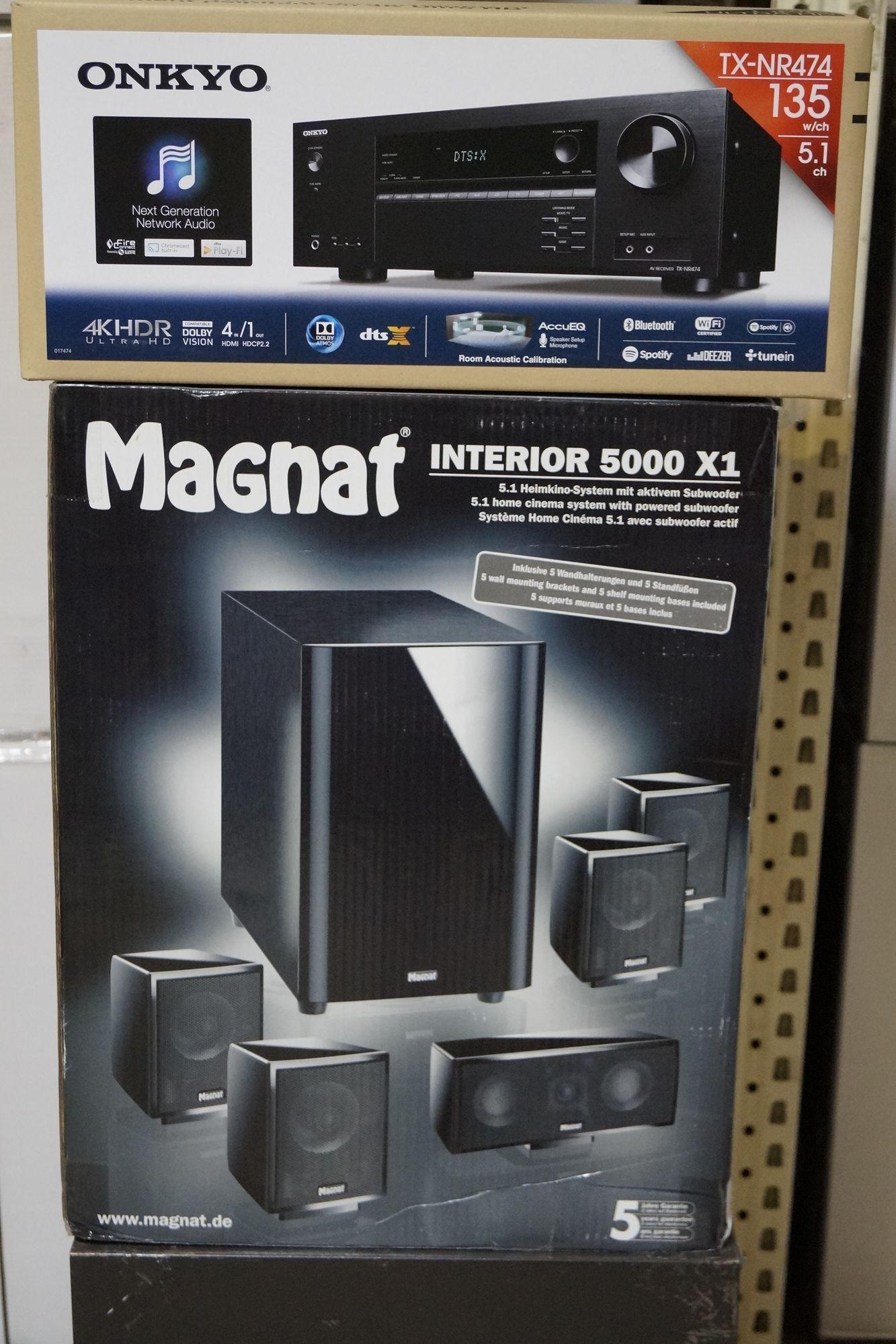 Magnat Interior 5000 X1und Onkyo TX NR 474 Heimkino-System mit aktiv Subwoofer schwarz  – Bild 1