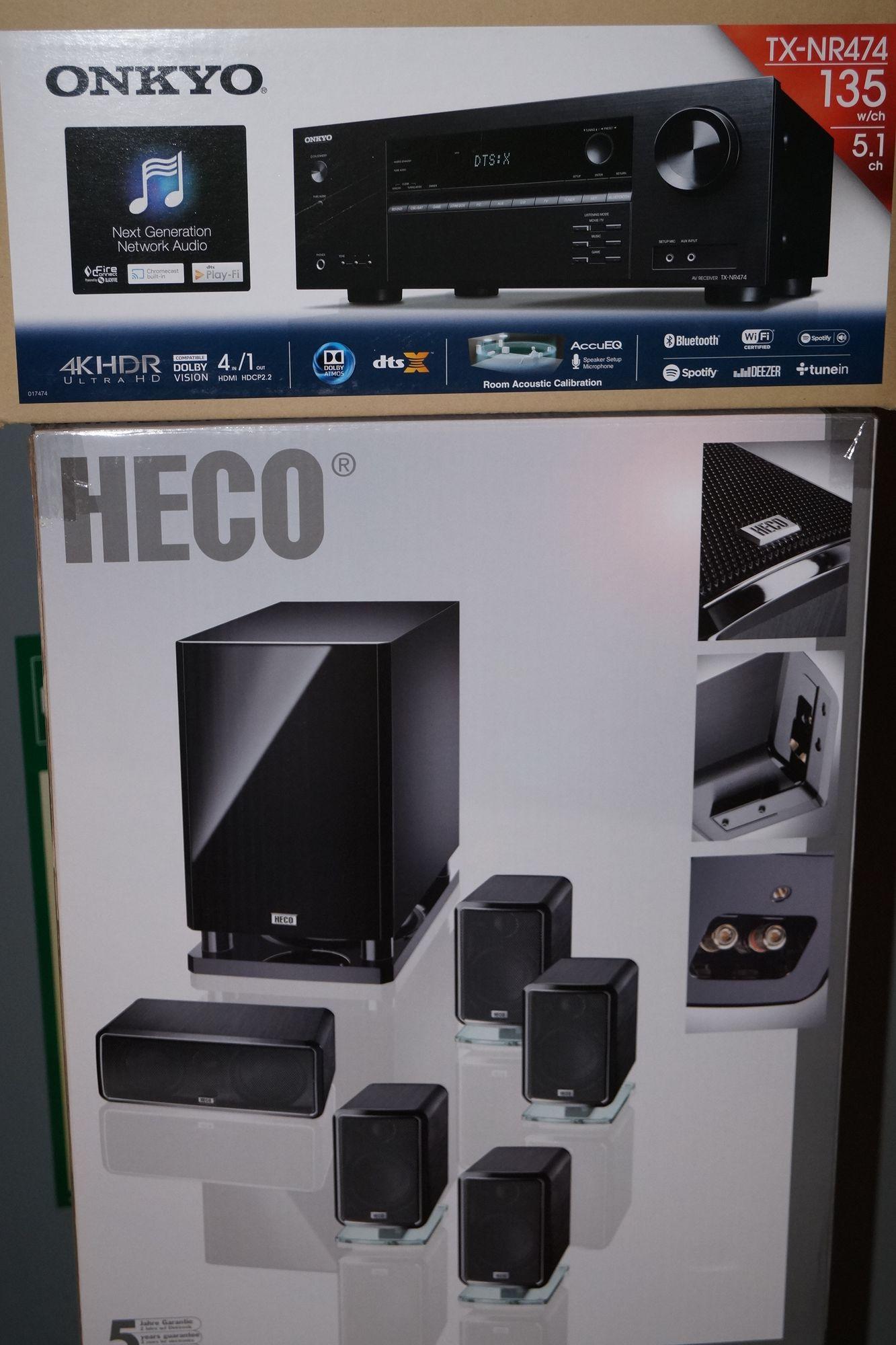 B Ware Heco Ambient 5.1 A, und Onkyo TX NR474  Heimkino-System mit Aktiv- Subwoofer  – Bild 1