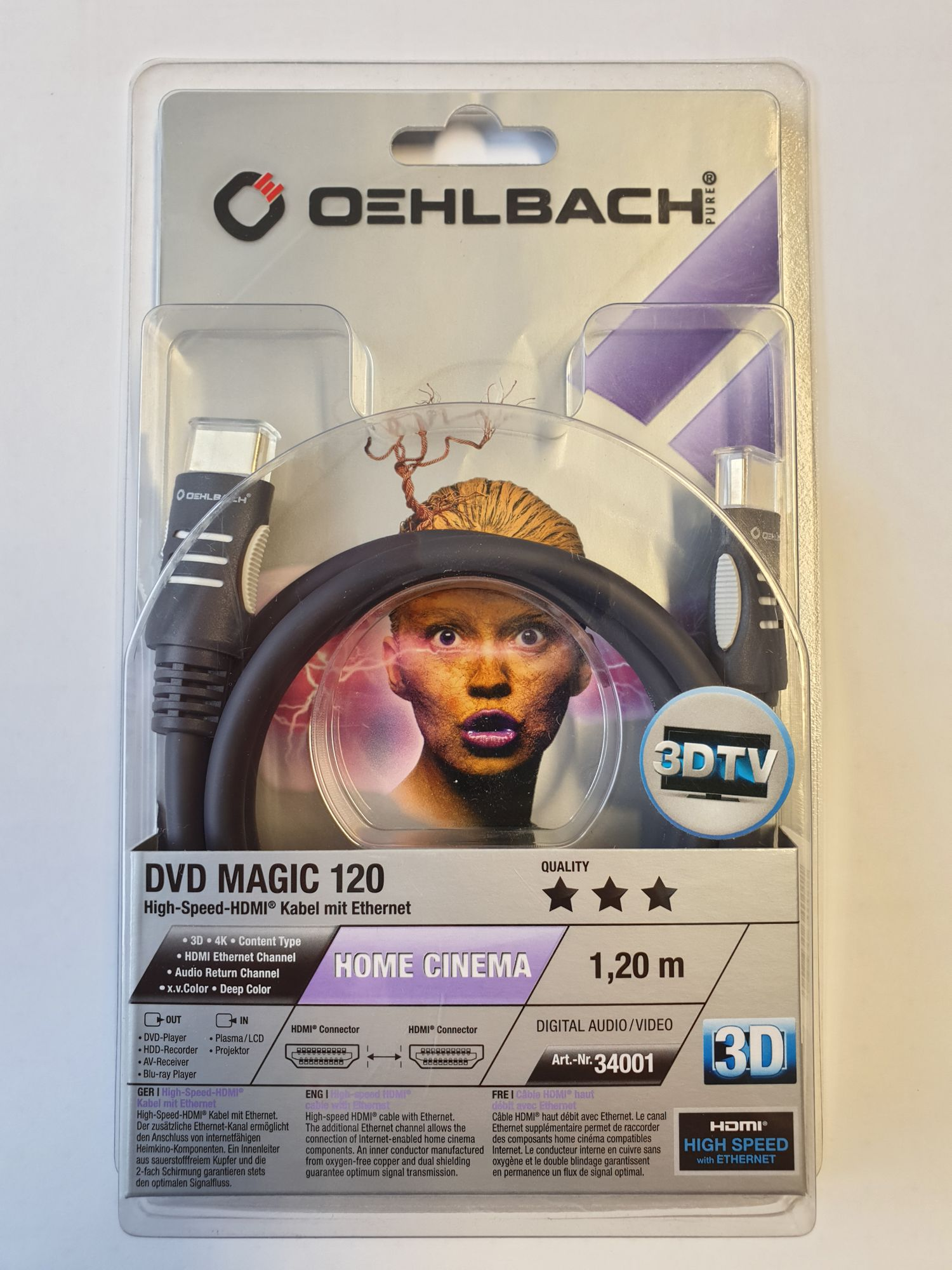 Oelbach High Speed HDMI Kabel mit Ethernet 3 D 1,2 Meter DVD Magic 120
