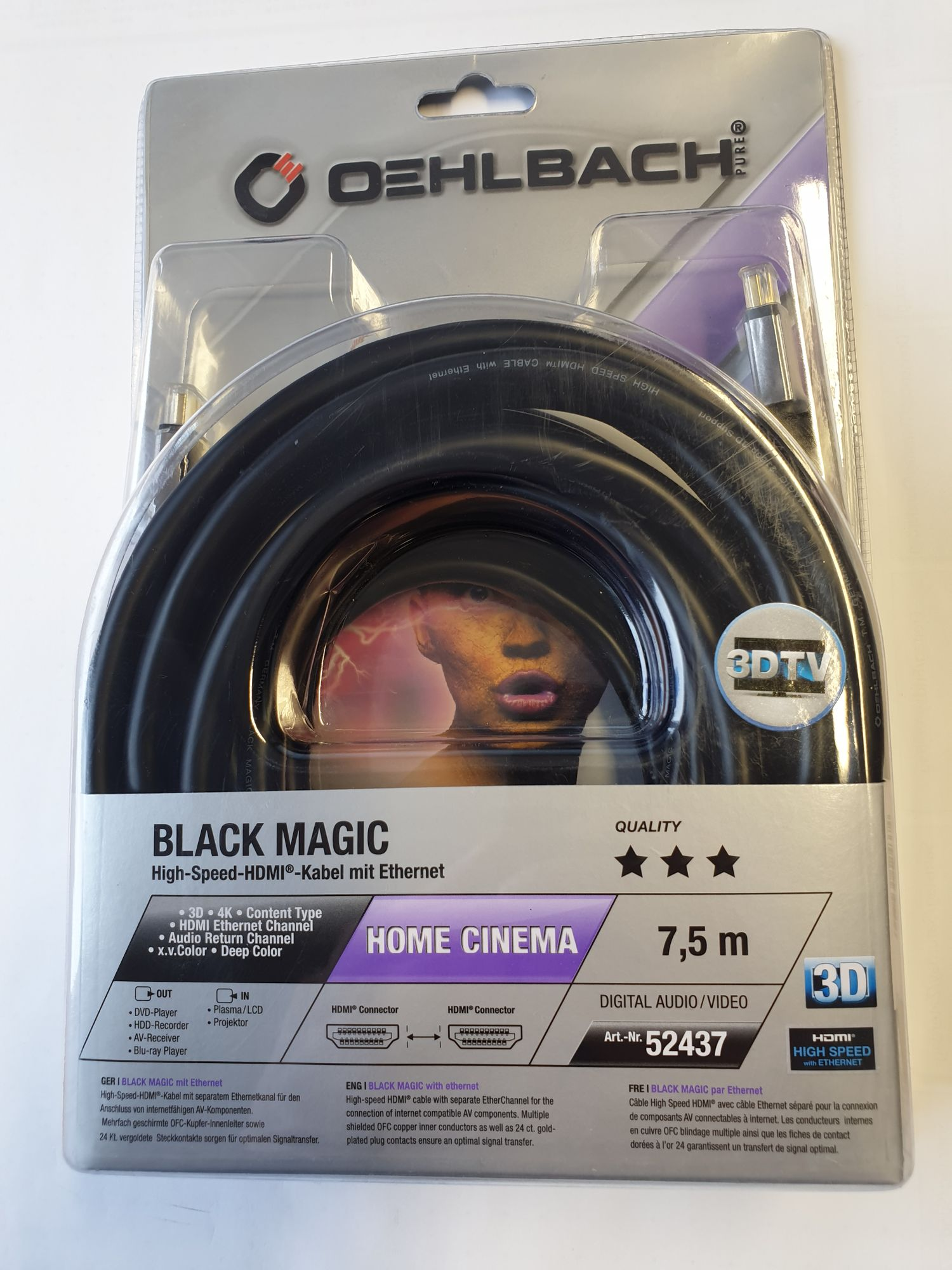 Oehlbach Black Magic HDMI Kabel 7,5 m mit Ethernet schwarz