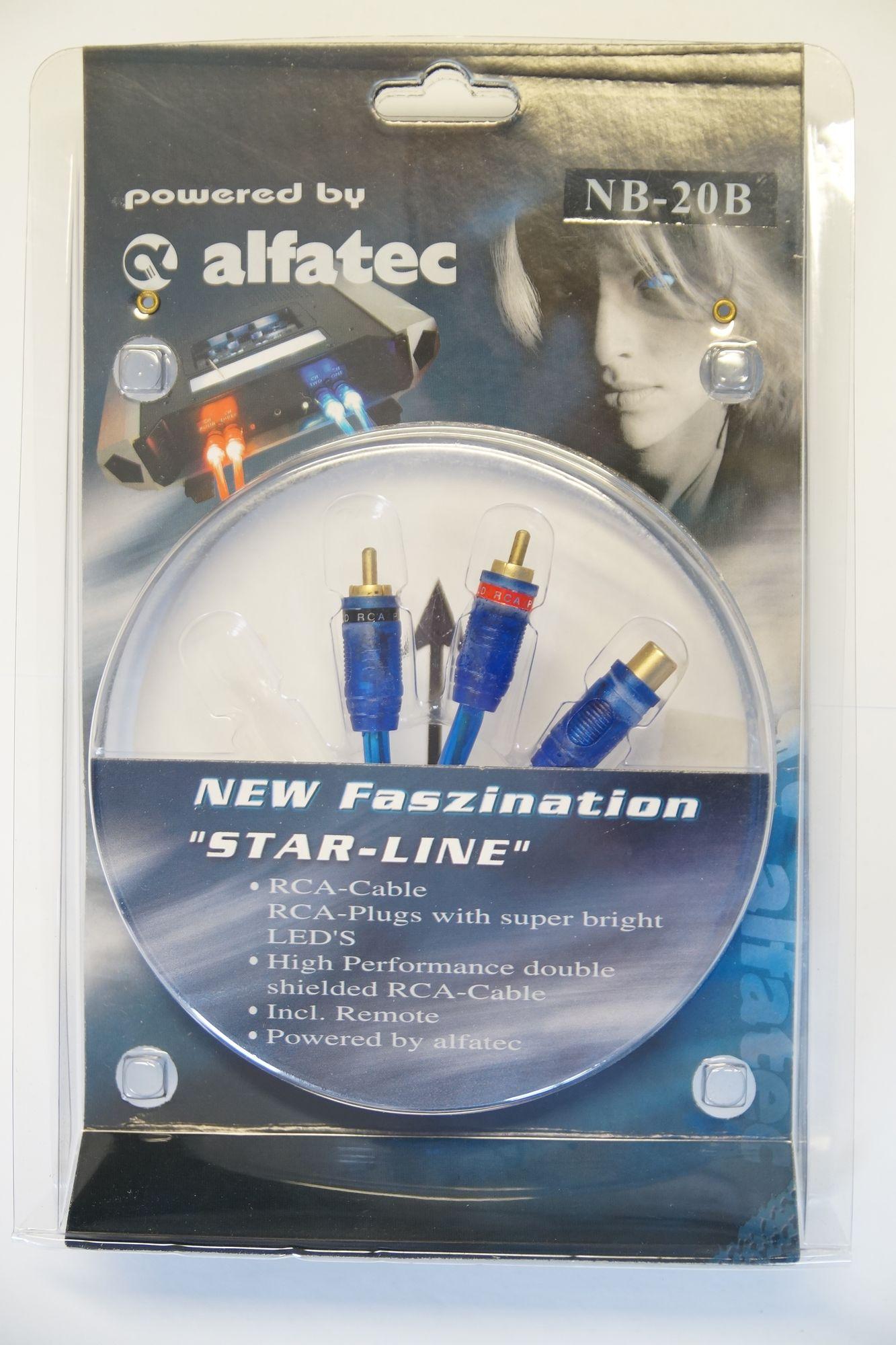 Alfatec MB-20B belechteter Y Adapter 1 Buchse 2 Stecker mit blauer LED  001